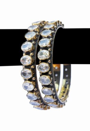 Buy WhiteFashion Bangles for Women with Exclusive Pattern -0