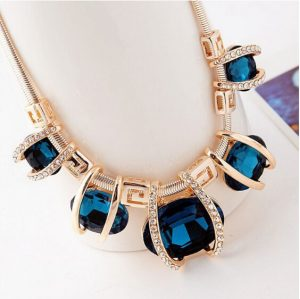Latest Design Fashion Necklace for Women in Blue Stones -0