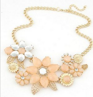 Golden Fashion Necklace Jewelry with Salmon and White Stone Flowers-0