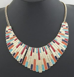 Buy Vintage Costume Jewelry in Golden Pendant with Colorful Stripes-0