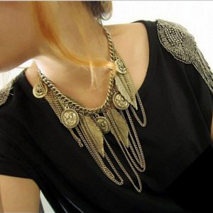 Gorgeous Vintage Costume Jewelry with Chains, Coins and Leaf Hanging Pendants -0