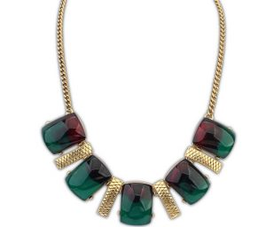 Maroon and Green Shaded Stone Studded Vintage Style Necklace -0