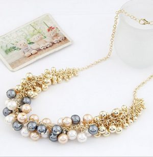 Glamorous Party Wear Necklace for Girls in Golden, White, Grey and Peach Beads-0