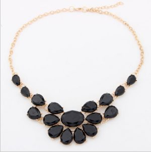 Uptown Vintage Necklace for Parties with Beautifully Arranged Black Stones-0