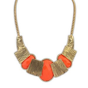 Fashion Necklace for Women in Antique Gold Look and Orange Stones-0