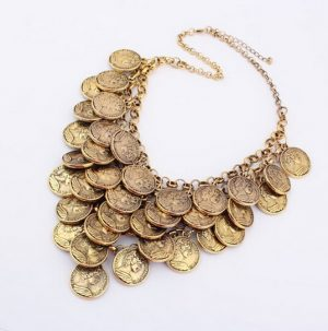 Exquisite Party Wear Necklace in Antique Finish Coins Arranged in Layers -0