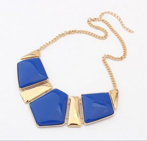 Glamorous Party Wear Fashion Necklace in Blue Stones with Golden Plates-0