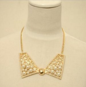 Bow Style Classy Party Wear Necklace Jewelry in Golden Color with Pearls-0