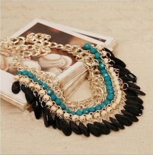 Party Wear Necklace in Golden Loops with Turquoise, Black and White Stones-0