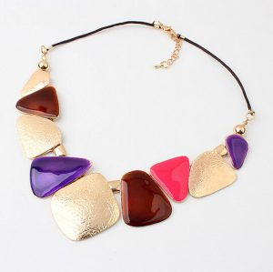 Vintage Costume Necklace in Golden Motif with Purple, Maroon and Pink Beads -0