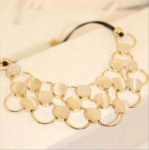 Beach Partyr Necklace in Golden Rings and Off-White Stone Arrangement-0