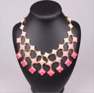 Uptown Fashion Necklace with Assortment of Peach, Salmon and Pink Stones-0