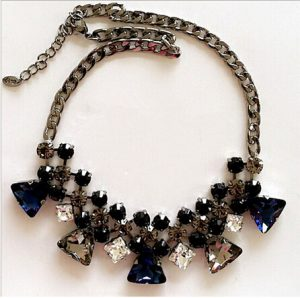 Sparkling Fashion Necklace with Blue and Brown Stones Arrangement -0
