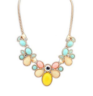 Boho Hippie Necklace with Peach, Turquoise and Yellow Stones and Beads -0