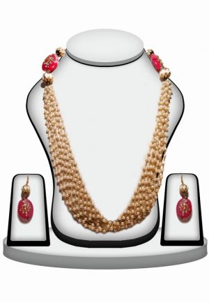 Stylish Beaded Necklace Set With Fashion Earrings in Pink and White Stones-0