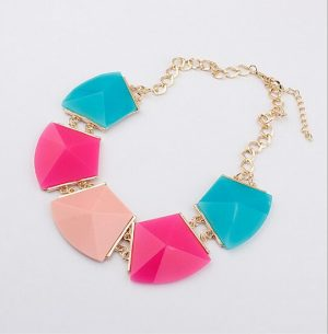 Buy Stylish Neckpiece‎ with Pink, Peach and Blue Beads -0