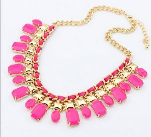 Attractive Pink Beads Necklace Set for Women with Golden Motif Arrangement-0