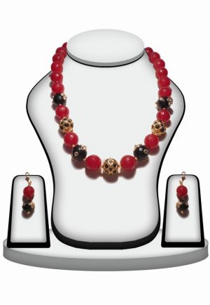 Buy Online Red and Green Stone Bridal Necklace Set With Designer Earrings-0
