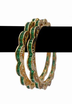 Luxury Designed Special Bangles Jewelry in Green AD Stones -0