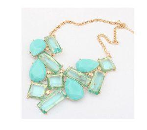 Stylish Aqua Colored Stone Studded Gypsy Bohemian Necklace Set -0