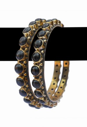 Exclusive Designed WeddingBangles Jewelry in Black Desire Stones -0