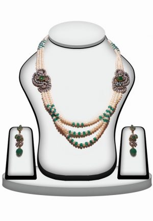 White and Green Fashionable Beaded Necklace Set with Brooch-0