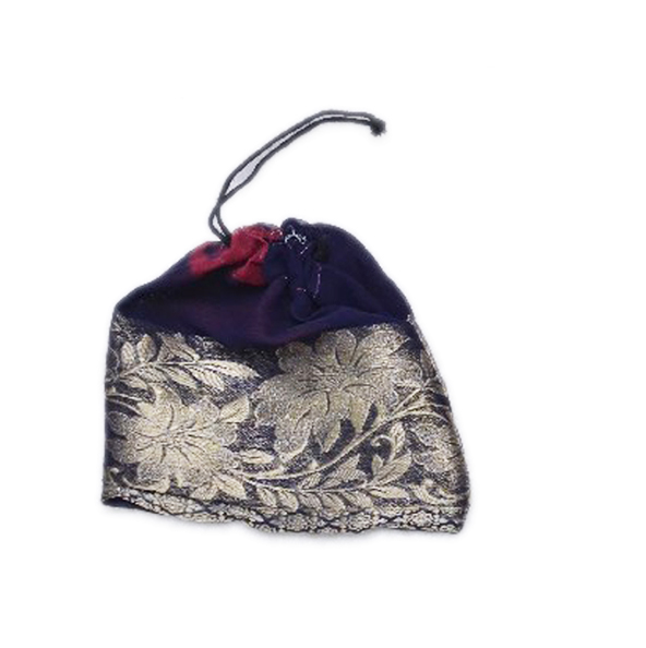 Buy Online Dark Blue Fancy Pouches With The Beautiful Flower Zari Print-0