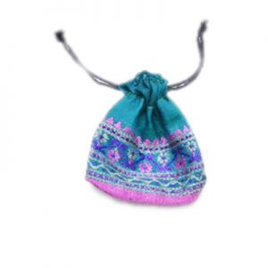 Lavender Blue Hand Crafted Potli Bags With Rich Embroidery Designs-0