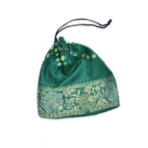 Designer Glossy Deep Green Hand Crafted Pouches With Floral Zari Patterns-0