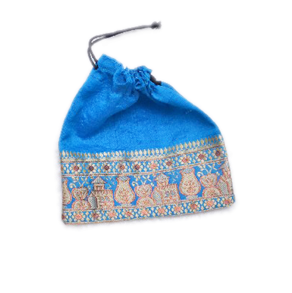 Buy Traditional Blue Hand Crafted Pouches With Embroidery Work-0