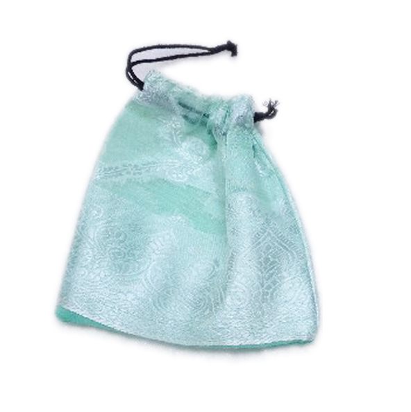 Buy Light Blue Handmade Antique Pouches With White Embroidery-0