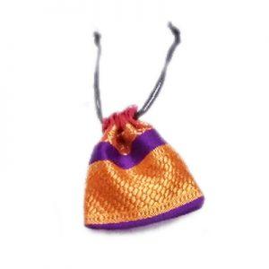 Striking Zari Designed Handmade Designer Pouch With Purple Stripe-0