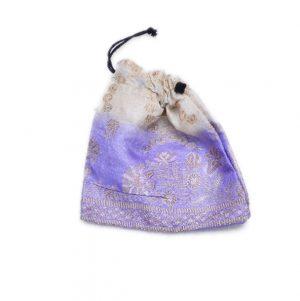 Shop Online Blue And White Handmade Potli Bag With Zari Designs-0