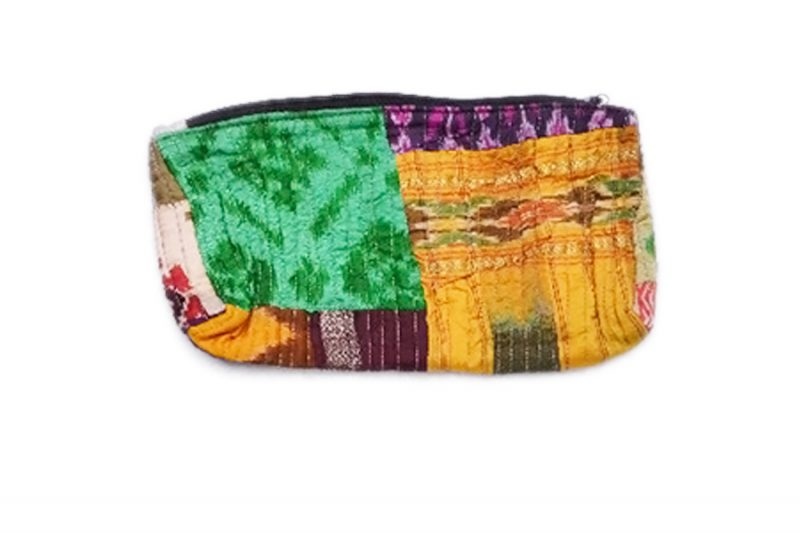 Beautiful Green And Yellow Handmade Pouch Bags From India-0
