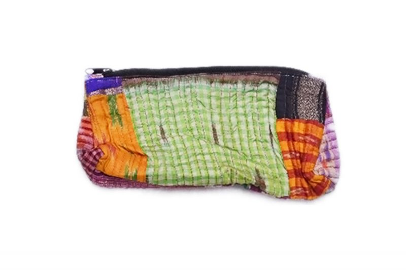 Designer Handmade Pouches Bags Online With Green And White Strip-0