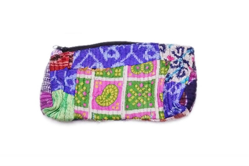 Buy Online Designer Handmade Pouches Bags With Pink And Blue Block Print-0