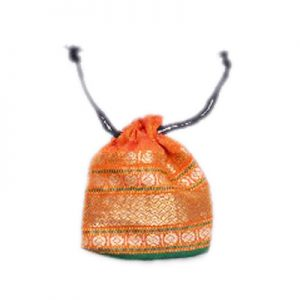 Gorgeous Orange Gift Pouches With Fascinating Zari Designs-0