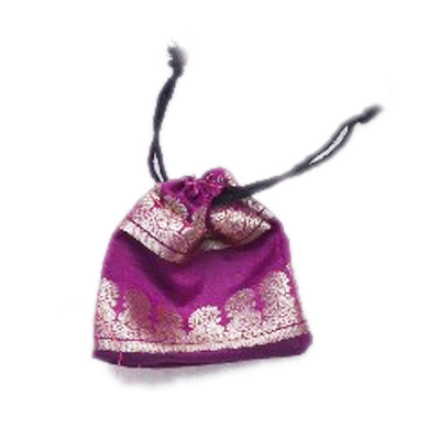 Buy Dazzling Purple Handmade Pouches With Beautiful Zari Work-0
