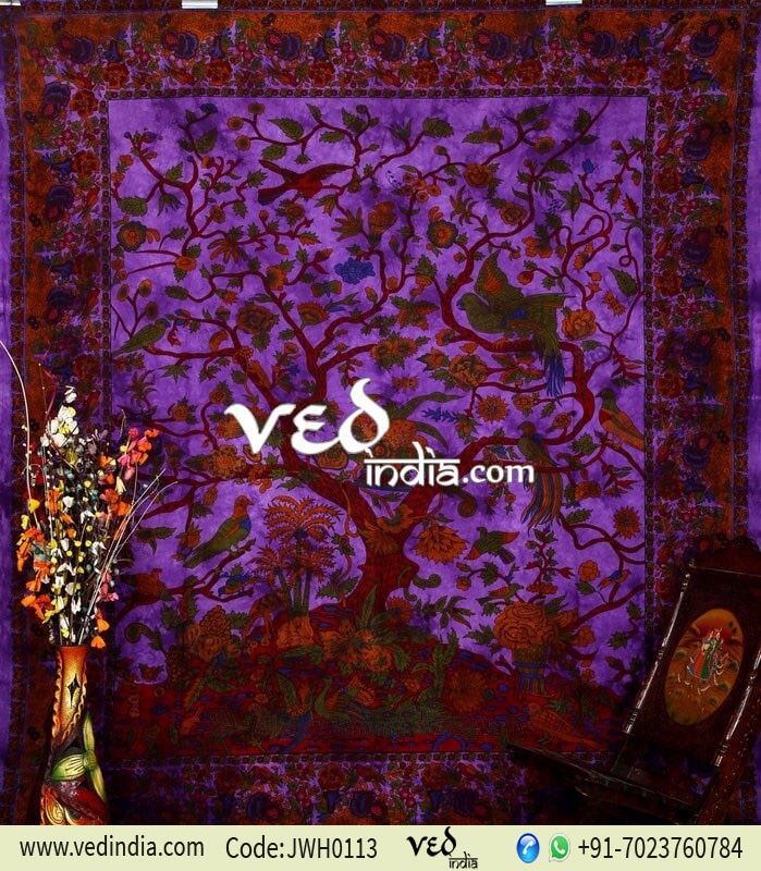 Beautiful Purple Tree of Life Tapestry
