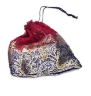 Traditional Designer Maroon And Blue Pouches With Floral Zari Patterns-0