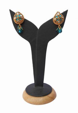 Elegant Semi Precious Turquoise Stones Polki Earring from India-0