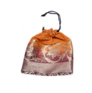 Shop Online Maroon And Yellow Wedding Potli With Zari Designs-0