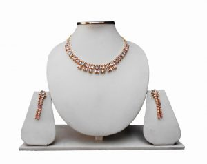 Beautiful Multicolored Cubic Zerconium American Diamond Necklace Set with Earrings-0