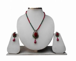 Beautiful Party Wear Red Pendant and Earrings Set from India-0