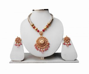 Beaded Bridal Jewellery Pipe Necklace Set with Polki Pendant and Earrings for Women-0