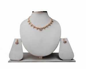 Beautiful Design Bridal Wedding Necklace Set with Jhumkas From India-0
