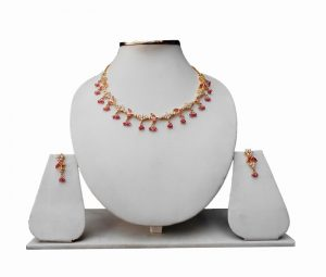 Latest Designer American Diamond Necklace Set with Earrings for Women-0