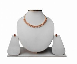 Latest Designer Antique Diamond Necklace Set With Earrings From India-0