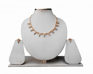 Shop Online Blue and White Cubic Zerconium Stones Necklace with Earrings-0