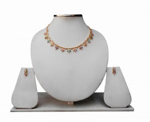 Designer Fashion Necklace With Earrings in Multicolored Cubic Zerconium Stones-0